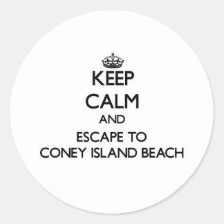 Keep calm and escape to Coney Island Beach New Yor Round Sticker