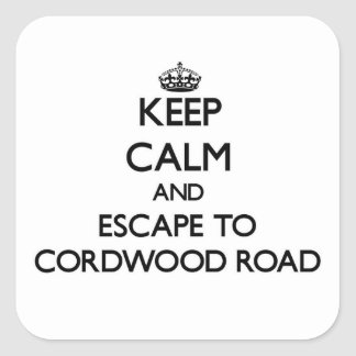Keep calm and escape to Cordwood Road Massachusett Square Sticker