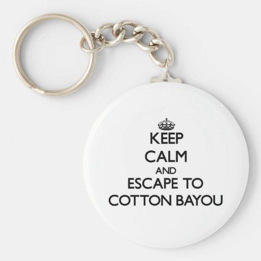 Keep calm and escape to Cotton Bayou Alabama Keychains