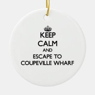 Keep calm and escape to Coupeville Wharf Washingto Round Ceramic Decoration