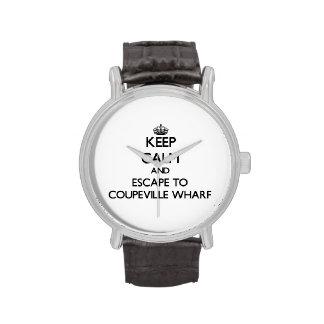 Keep calm and escape to Coupeville Wharf Washingto Wristwatch