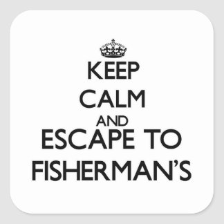 Keep calm and escape to Fisherman'S Massachusetts Square Sticker