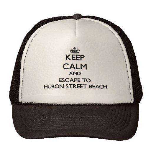 Keep calm and escape to Huron Street Beach Michiga Mesh Hats
