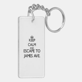 Keep calm and escape to James Ave. Massachusetts Rectangle Acrylic Key Chain