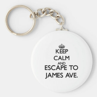 Keep calm and escape to James Ave. Massachusetts Keychain