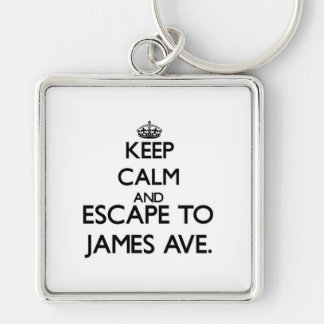 Keep calm and escape to James Ave. Massachusetts Keychains
