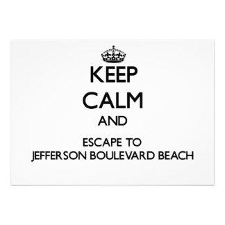 Keep calm and escape to Jefferson Boulevard Beach Custom Invite