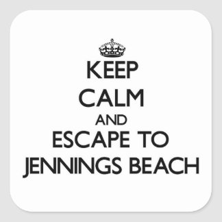 Keep calm and escape to Jennings Beach Connecticut Square Sticker