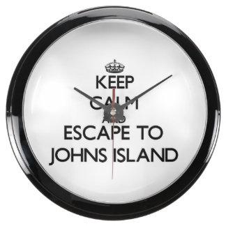 Keep calm and escape to Johns Island Washington Aquavista Clocks