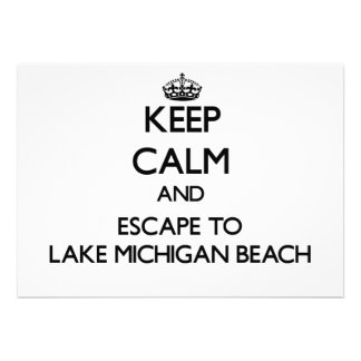 Keep calm and escape to Lake Michigan Beach Michig Custom Invitations