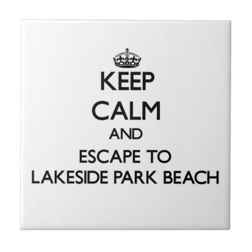 Keep calm and escape to Lakeside Park Beach Wiscon Ceramic Tile