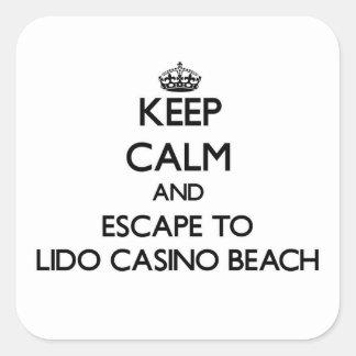 Keep calm and escape to Lido Casino Beach Florida Square Stickers