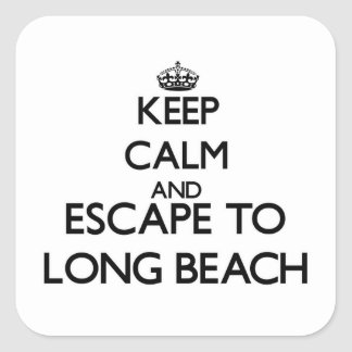 Keep calm and escape to Long Beach Connecticut Square Sticker