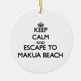 Keep calm and escape to Makua Beach Hawaii Ornament