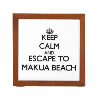 Keep calm and escape to Makua Beach Hawaii Pencil Holder