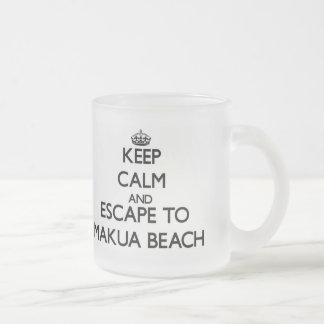 Keep calm and escape to Makua Beach Hawaii Frosted Glass Mug