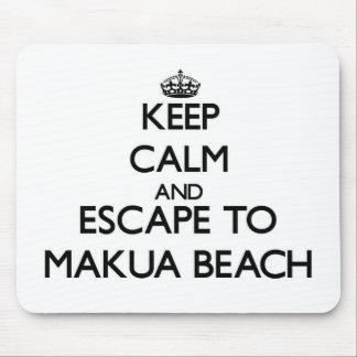 Keep calm and escape to Makua Beach Hawaii Mouse Pad