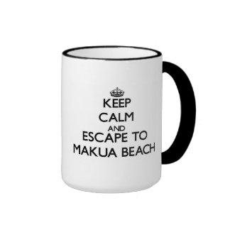 Keep calm and escape to Makua Beach Hawaii Ringer Mug