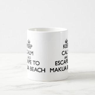 Keep calm and escape to Makua Beach Hawaii Basic White Mug