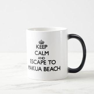 Keep calm and escape to Makua Beach Hawaii Morphing Mug