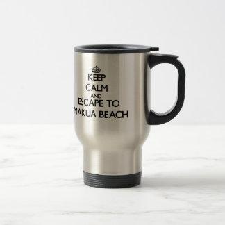 Keep calm and escape to Makua Beach Hawaii Stainless Steel Travel Mug