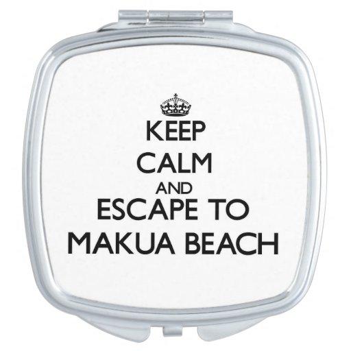 Keep calm and escape to Makua Beach Hawaii Travel Mirrors