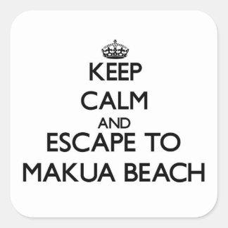 Keep calm and escape to Makua Beach Hawaii Square Sticker