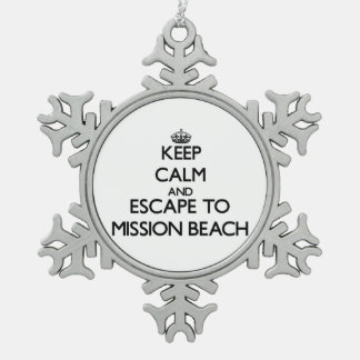 Keep calm and escape to Mission Beach California Snowflake Pewter Christmas Ornament