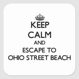 Keep calm and escape to Ohio Street Beach Illinois Stickers