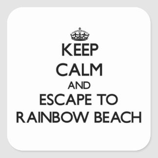 Keep calm and escape to Rainbow Beach Illinois Square Stickers