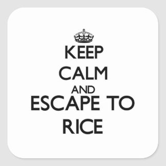 Keep calm and escape to Rice Massachusetts Square Sticker