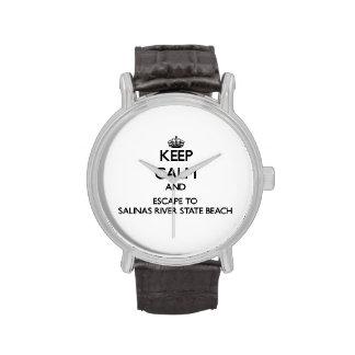 Keep calm and escape to Salinas River State Beach Wrist Watch