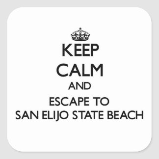 Keep calm and escape to San Elijo State Beach Cali Square Stickers