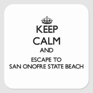Keep calm and escape to San Onofre State Beach Cal Square Sticker