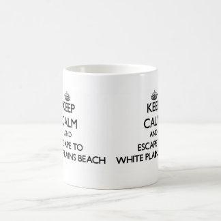 Keep calm and escape to White Plains Beach Hawaii Basic White Mug