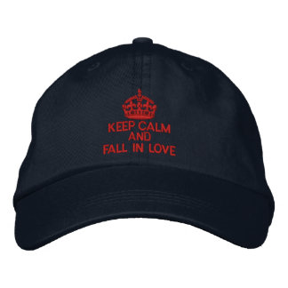 Keep Calm And Fall in Love Embroidered Baseball Caps