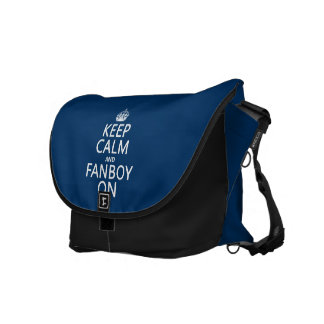 Keep Calm and Fanboy On in any color Courier Bags