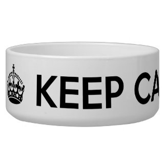 """Keep Calm and Feed Me"" Large Dog Bowl"