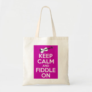 Keep Calm and Fiddle on (Fuschia Pink) Tote Bag