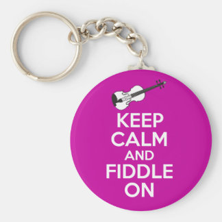 Keep Calm and Fiddle On Violin on Fuschia Pink Basic Round Button Key Ring