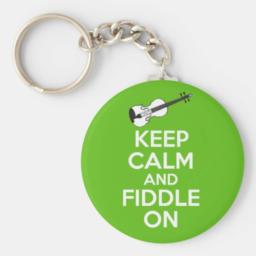 Keep Calm and Fiddle On Violin on Green Keychains