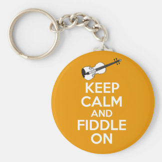 Keep Calm and Fiddle On violin on Orange Basic Round Button Key Ring