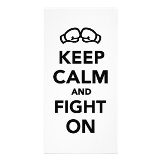 Keep calm and fight on Boxing Custom Photo Card