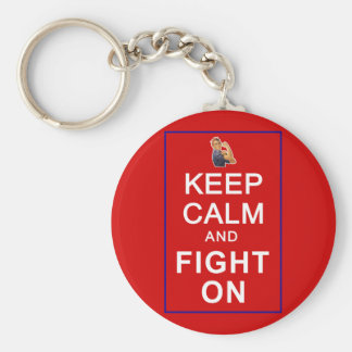 Keep Calm and Fight On Womens Rights Basic Round Button Key Ring