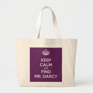 Keep Calm and Find Mr. Darcy Jane Austen Large Tote Bag