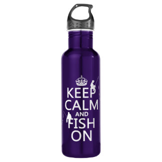 Keep Calm and Fish On - customisable colours 710 Ml Water Bottle