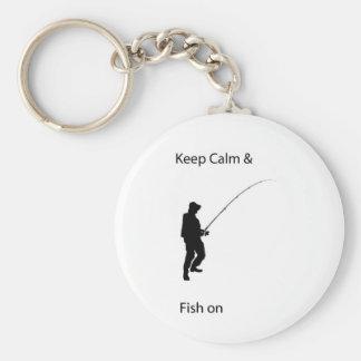 keep calm and fish on key chain