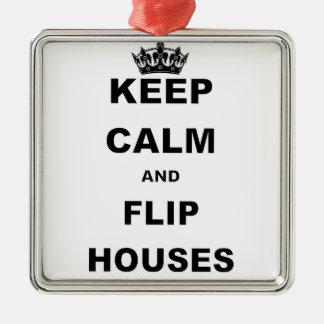 KEEP CALM AND FLIP HOUSES CHRISTMAS ORNAMENT