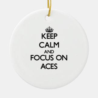 Keep Calm And Focus On Aces Christmas Ornaments