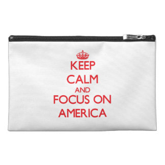 Keep Calm and focus on America Travel Accessories Bags